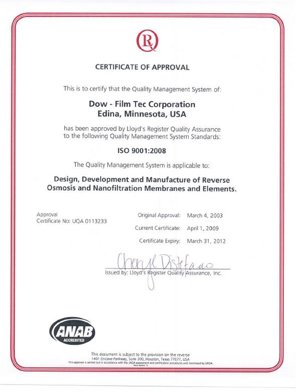 Reverse Osmosis Membranları ISO 90012008 sertifikası-K